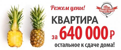 Акция! Квартира за 640 000 рублей в ЖК Новый Город!